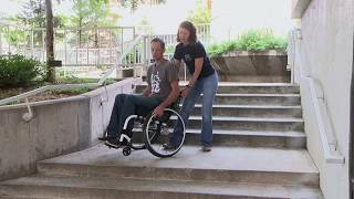 Craig Hospital Wheelchair Skills: One Person Assist Going Up and Down Stairs
