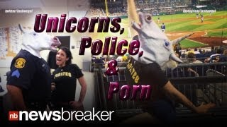 STRANGE: Cop Wearing Unicorn Head Poses With Porn Star; Sparks Investigation