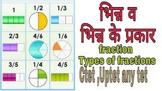भिन्न व भिन्न के प्रकार ( fraction , types of fractions )