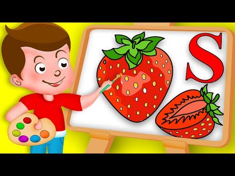 Drawing Alphabet S Letter with Strawberry fruit Drawing Paint And Colouring For Kids kidsdrawingtv