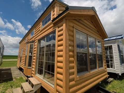2018 cedar log cabin cbt39 3 park model rv tiny house youtube. Black Bedroom Furniture Sets. Home Design Ideas