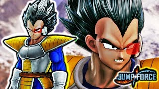 NEW SAIYAN SAGA VEGETA IN JUMP FORCE! Scouter Vegeta Costume Gameplay Mod (ALL TRANSFORMATIONS)