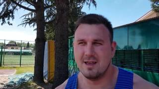Интервью Александра Лесного - победителя командного чемпионата России в толкании ядра 20,92 м