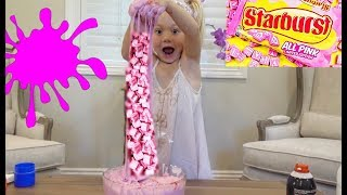 MAKING THE FLUFFIEST PINK STARBURST SLIME!!!! thumbnail