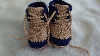 Sapatinho de crochê para bebê – Botinha de crochê