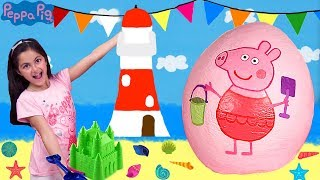 Peppa Pig Beach Holiday 2 Giant Surprise Egg Opening! New Peppa Pig Episodes - Peppa Pig Toys