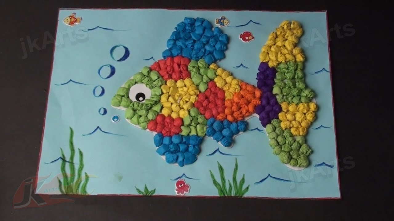 Paper Craft Ideas For Kids Videos Part - 28: DIY Fish With Kite Paper Balls | School Project For Kids | JK Arts 351 -  YouTube