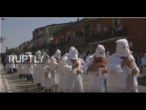 LIVE Self-flagellating penitents parade through Guardia Sanframondi during religious festival