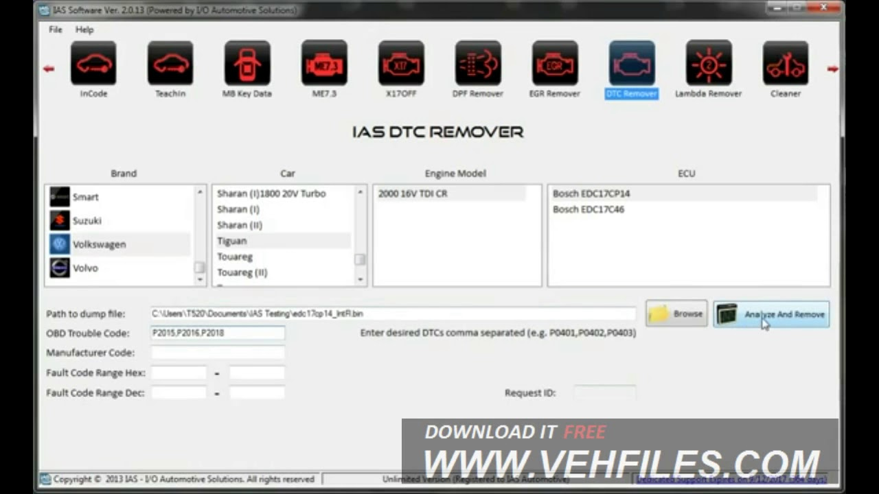 How to Remove DTC with IAS software v2 0