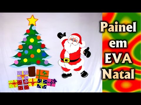 Santa claus christmas tree and gift christmas decoration for Mural de natal 4 ano