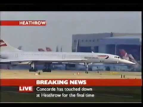Image result for last flight of  concorde lands in london