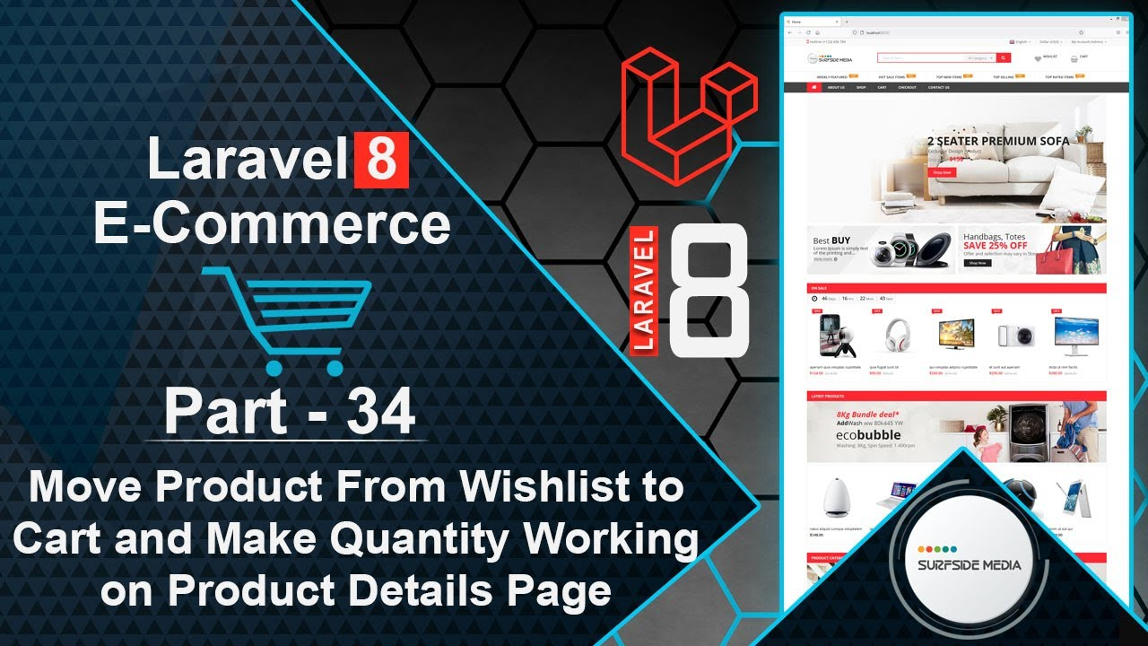 Laravel 8 E-Commerce - Move Product From Wishlist to Cart and Make Quantity Working on Details Page