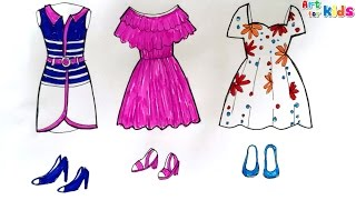 How to draw fashion clothes for kids | How to draw dresses for kids 5 | Art for kids