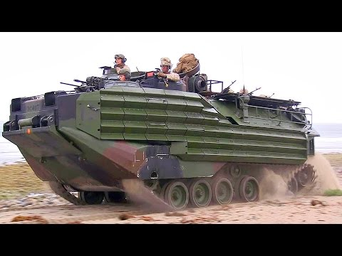 AAV-7A1 Assault Amphibious Vehicles Beach Landing