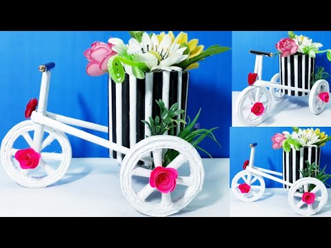 How to make Decorative Tricycle Flower Basket Out of Newspaper/New Design Cycle
