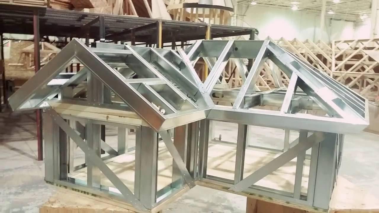 Structure de charpente de toit résidentiel (chevrons) en acier léger. - YouTube
