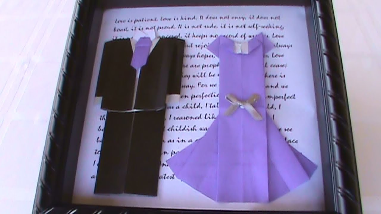 origami shadowbox wedding tuxedo amp dress youtube