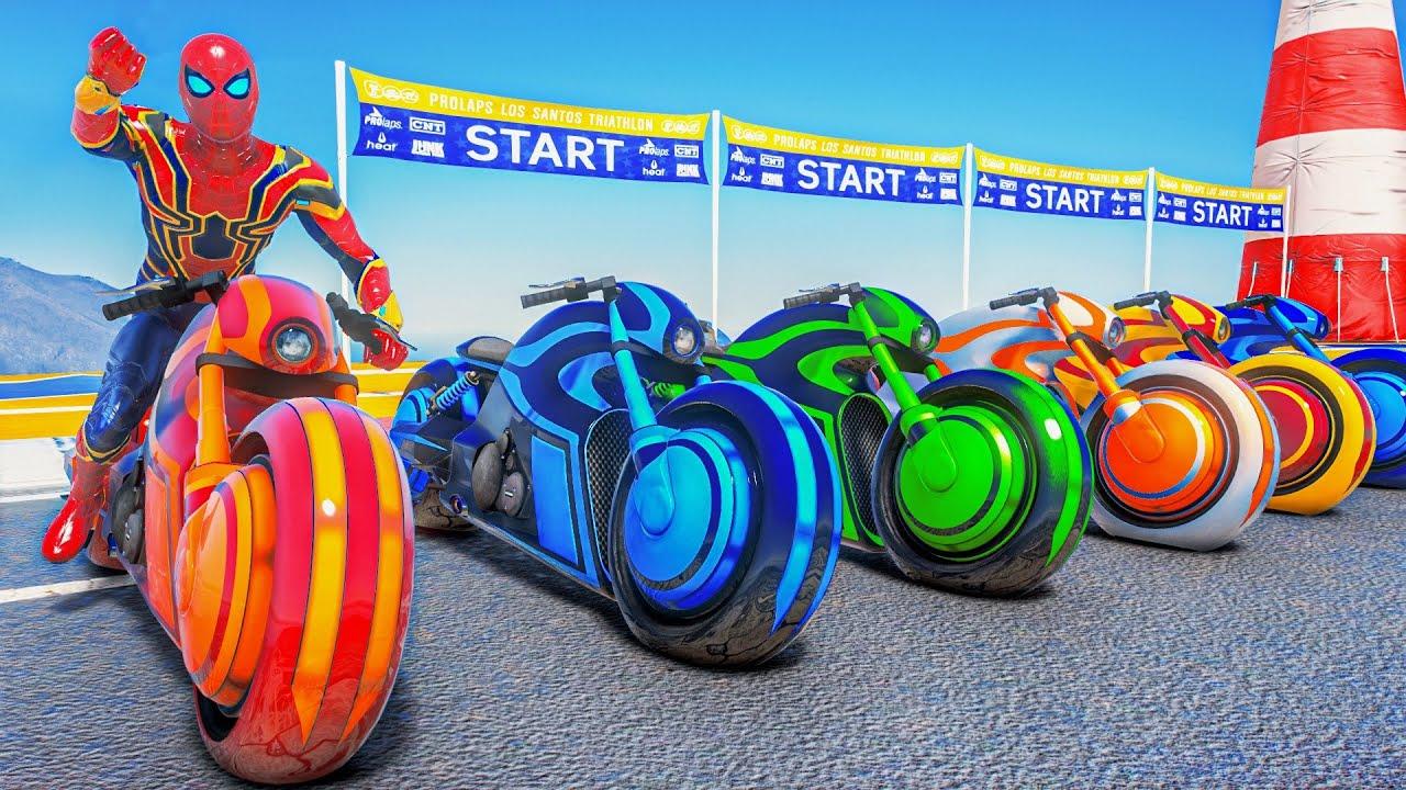 Download Spiderman Suits Vs Hulk Army   Spider-man Ps5 Motorcycles Tron Bike Racing Superheroes #138