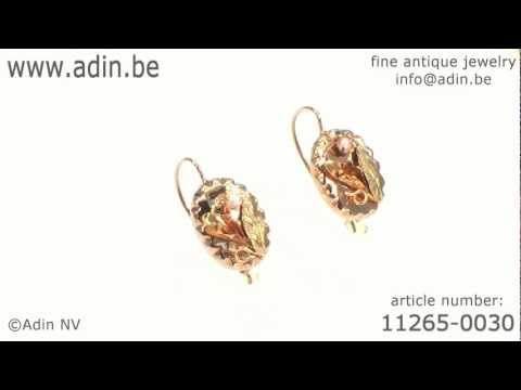 Red gold Victorian earrings with flower motif and real orient half seed pearls (11265-0030)
