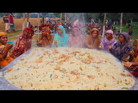 100 KG Meat & 70 KG Rice Mixed Chicken Biriyani Cooking By Women - Tasty Biryani For Villagers