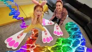 BUNNY FEET Floor is LAVA!! Family Easter Challenges, making Egg Towers, don't drop eggs, kids obby!