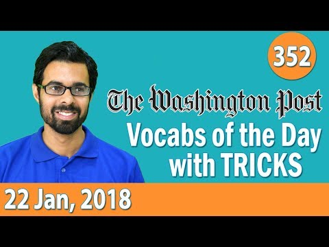 8:00 AM - The Washington Post  Vocabulary  with Tricks (22nd Jan, 2018) | Day- 352