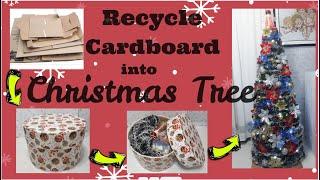 DIY CHRISTMAS TREE / RECYCLE CARDBOARD INTO CHRISTMAS TREE / Khim DIY
