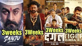 Sanju 3Weeks Vs Baahubali 2 Vs Dangal Vs Tiger Zinda Hai Box Office Collection Video