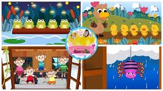 เพลงเด็กภาษาอังกฤษ 4 เพลง เรียนรู้เรื่องสัตว์ | 5 little ducks +  frog + monkey and spider
