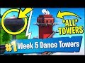 DANCE ON TOP OF A WATER TOWER, RANGER TOWER, AIR TRAFFIC CONTROL TOWER (Fortnite Season 7 Week 5)