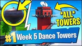 DANCE ON TOP OF A WATER TOWER, RANGER TOWER, AIR TRAFFIC CONTROL TOWER (Fortnite Season 7 Week 5)
