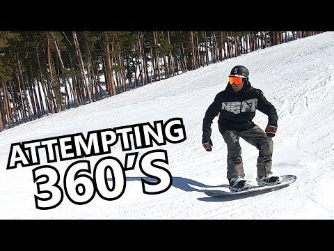 Attempting 360's On A Jump - Beginner Snowboard Tricks