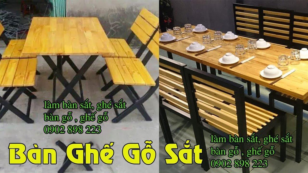 Làm Bàn Ghế Sắt Gỗ Quán Cafe, Quán Nhậu, Quán Ăn Ngoài Trời Giá Rẻ TPHCM Mẫu 2019
