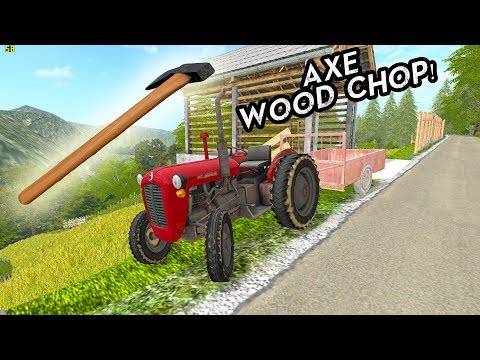 AXE wood chop in Slovenian Wineyard - OLD farm
