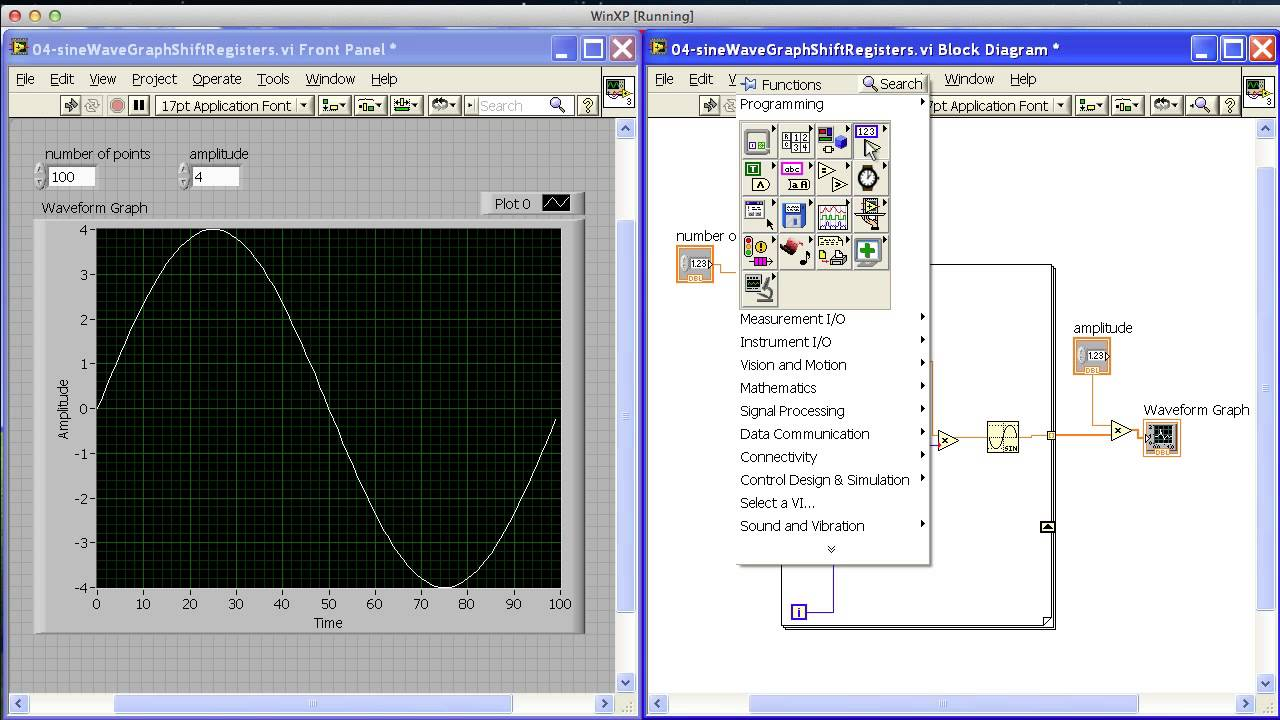 Sine Wave Graph With Shift Registers In Labview Mp4 Youtube