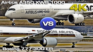 Airbus A350-XWB-1000 vs Boeing 777-300ER [4K]