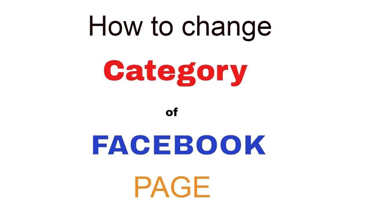 How do i change my facebook page category