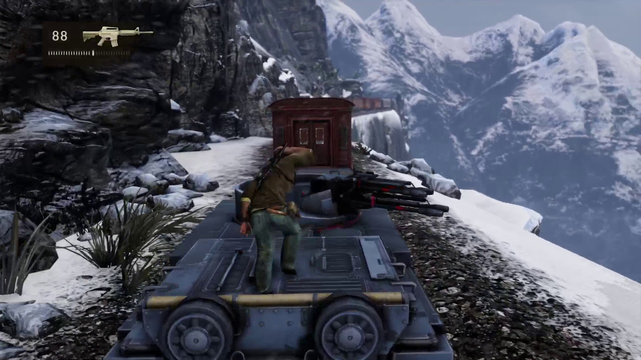 Uncharted 2 Remastered - Shooting Down Train Helicopter! HQ - YouTube