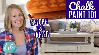 DIY FARMHOUSE TABLE �� Best way to chalk paint furniture!