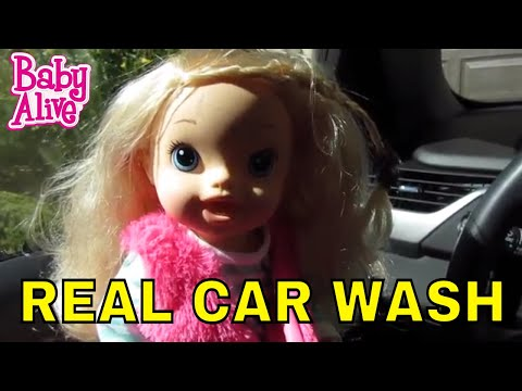 BABY ALIVE Madison's Outing to first REAL CAR WASH!  Creepy Neighbor 5