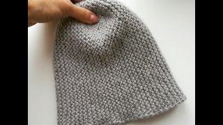 🎩Вязаная шапка спицами. Вязание спицами шапочка бини. шапка для начинающих спицы