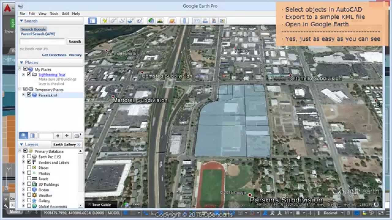 Directly to google earth kml from your autocad drawing spatial directly to google earth kml from your autocad drawing spatial manager blog youtube gumiabroncs Gallery