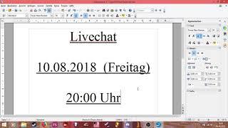 Nächser Livechat am 10.08.2018