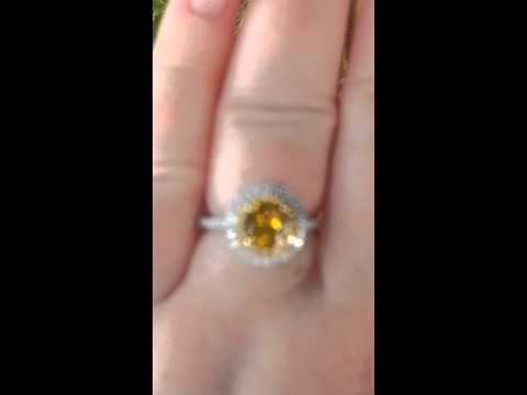 Precision Cut OEC Canary Yellow Sapphire in Diamond Halo Engagement Ring