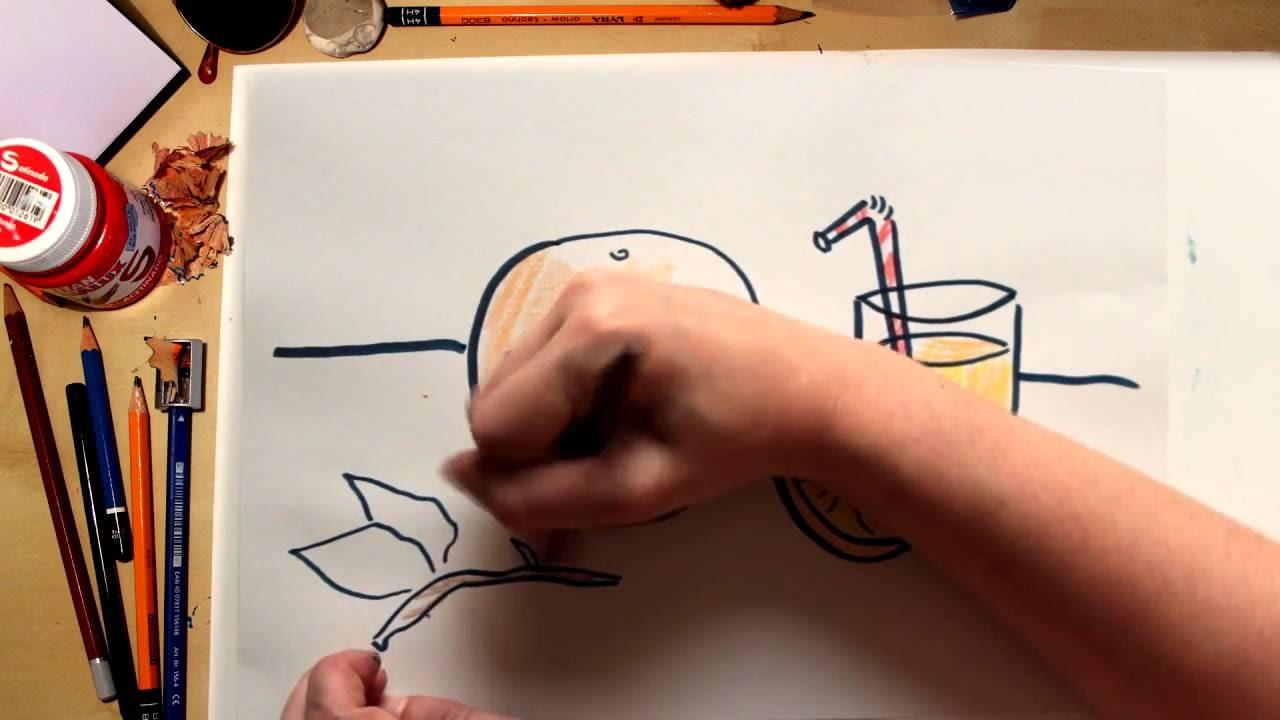 Como dibujar una Naranja  dibujos de frutas para nios  YouTube