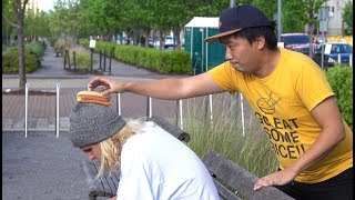 Putting Hot Dogs on People's Heads Prank!