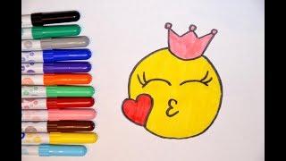 Как рисовать смайлик, эмоджи с короной. Рисуем смайлик принцессу с поцелуем.