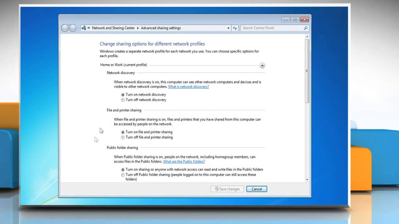 network discovery off windows 7