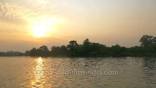 Girwa River simmering at sunset - Katarniaghat Wildlife Sanctuary