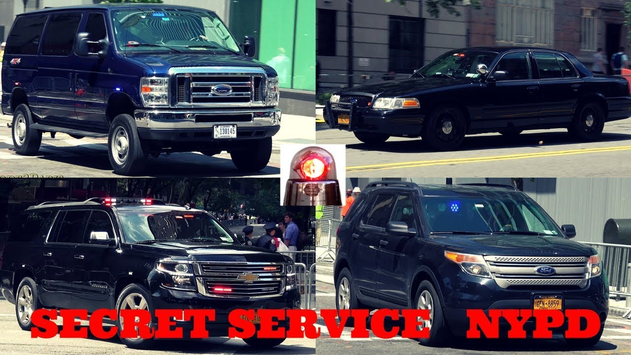 Secret Service in Action + NYPD Unmarked Police Cars in ...